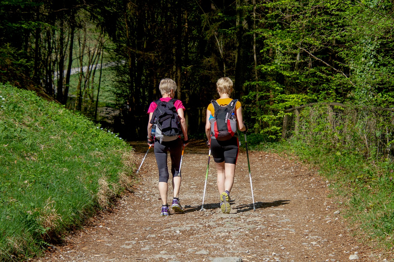 Nordic Walking am Wolfgangsee: zwei Frauen auf einem sommerlichen Waldweg, mit dem Rücken zum Betrachter